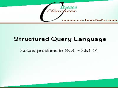 Solved problems in SQL - SET 2